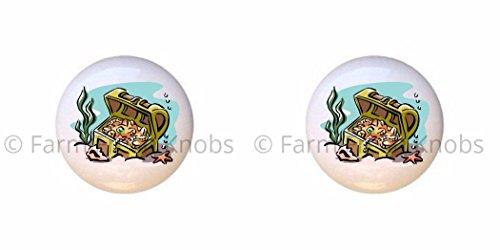 (SET OF 2 KNOBS - Pirate Design #194354 Treasure Chest - Pirates - DECORATIVE Glossy CERAMIC Cupboard Cabinet PULLS Dresser Drawer)