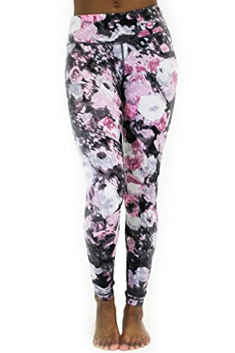 90 Degree by Reflex - Performance Activewear - Printed Yoga Leggings Print 289 Splitted Rose L