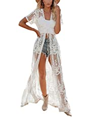Bsubseach Women Sexy Open Front Beach Cover Up See Through Kimono Cardigan