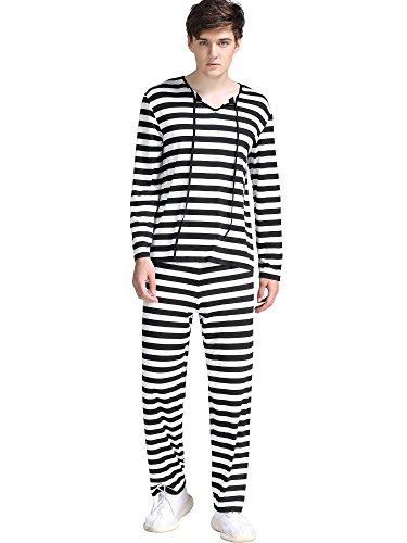 FENSACE Mens Halloween a Set Of Striped Prisoner Cosplay Costume - Striped Prisoner