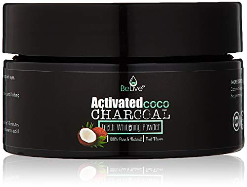 Teeth Whitening Charcoal Powder made from Activated Organic Coconut Shell - Eliminates Bad Breath, Coffee & Tea Stains, Oral Germs - 2 x FREE Activated Charcoal Strips Bonus