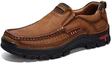 Comfortable and Breathable Non Slip Set Feet Outdoor Hiking Sneakers Formal Shoes for Men, Shoe Size:41(Brown)