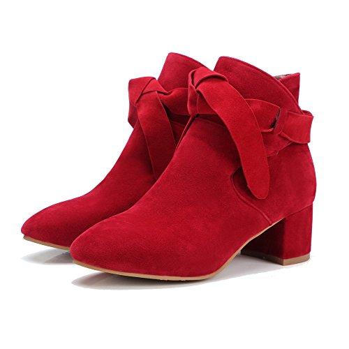 Allhqfashion Dames Vierkante Dichte Neus Katoenen Hakken Frosted Low-top Solide Laarzen Rood