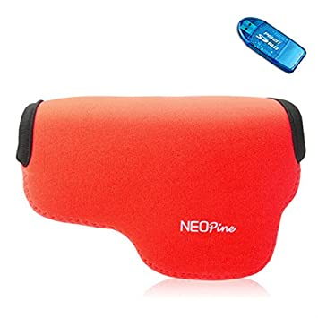 First2savvv QSL-A6000-08G10 Funda Cámara Reflex Neopreno Protectora para SONY A6000 + Lector de tarjetas SD