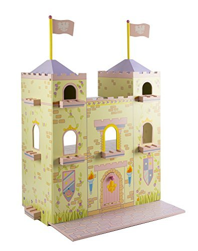 CP Toys by Constructive Playthings - Wooden Fairytale Castle - Mounted on a Lazy Susan for Easy Rotating Play - Ages 3+ by Constructive Playthings