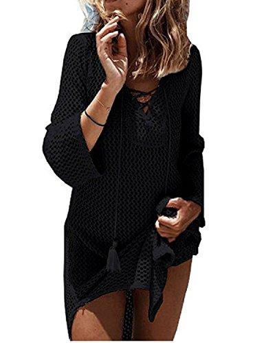 NFASHIONSO Women's Fashion Swimwear Crochet Tunic Cover Up/Beach Dres,Black