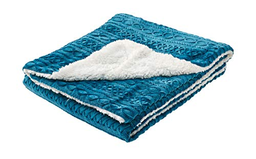 - Great Hotels Collection Ocean Blue Super Soft Sherpa Velour Burnout Reversible Throw Blanket