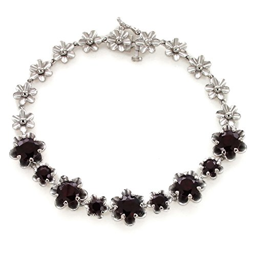 UP LINK Women's Garnet 925 Sterling Silver Rhodium Plated Birthstone Bracelets Deep Red by UP LINK