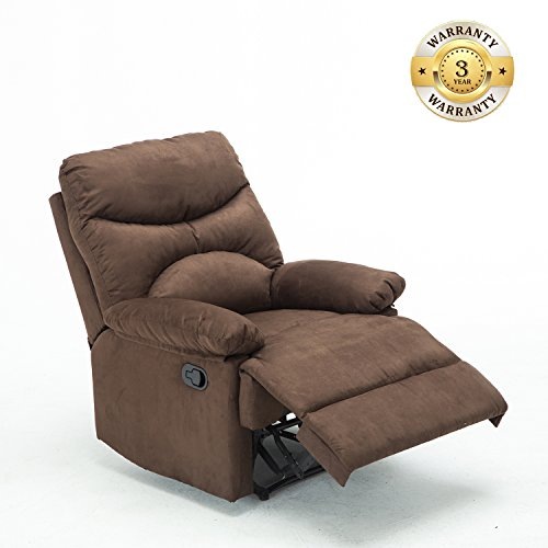 Massage Recliner Chair, Microfiber Ergonomic Lounge Living Room Sofa with Heated Control, Brown …