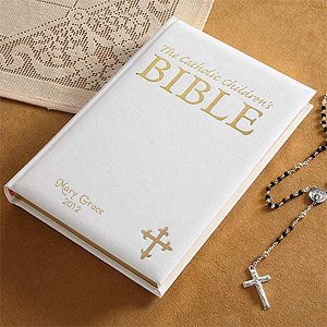 Personalized Laser Engraved Catholic Children's Bible White