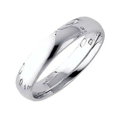 Fine 14k White Gold Forever Comfort Fit Band 4mm Plain Wedding Ring for Women