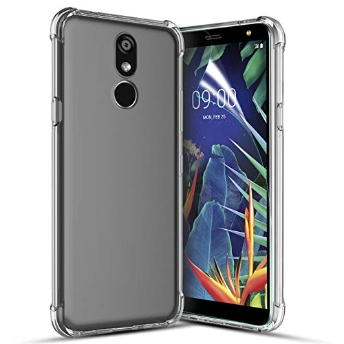 LG K40 Case,LG K12 Plus/LG X4 2019/LMX420 Phone Case with Screen Protector,[Ultra-Thin Slim][Reinforced Corner][Scratch Resistant] Soft Skin Silicone Premium Bumper Protective Clear Case Cover-Clear ()