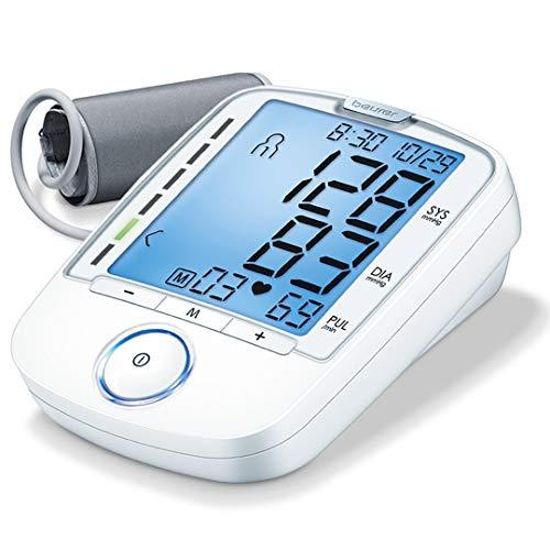 Beurer BM47 Upper Arm Blood Pressure Monitor, Large Cuff | 4 Users, Fully Automatic & Digital, XL Display, Irreg. Heartbeat Detector, Cuff Circ. 8.7'-16.5' | Home Use BP Machine Kit | Storage case
