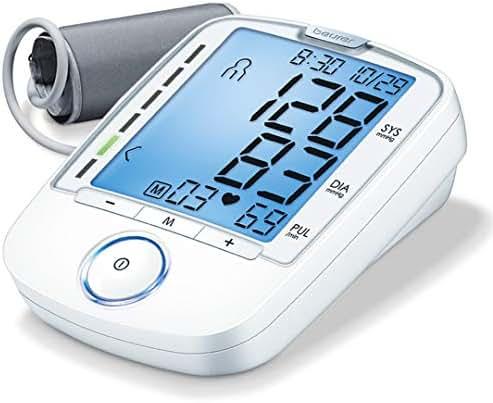 "Beurer BM47 Upper Arm Blood Pressure Monitor, Large Cuff   4 Users, Fully Automatic & Digital, XL Display, Irreg. Heartbeat Detector, Cuff Circ. 8.7""-16.5""   Home Use BP Machine Kit   Storage case"