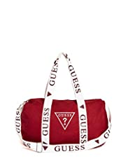 Perfect for weekend trips, this canvas duffle bag features a front logo embroidery, contrast logo trim and top zipper closure.