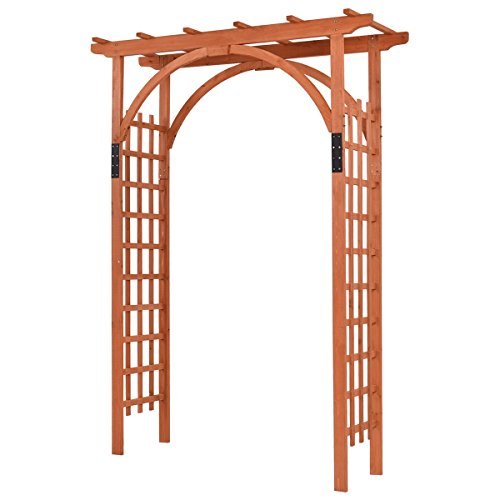Giantex 85 Wood Arbor Arch Outdoor Trellis Pergola Providence Arbor for Climbing Plants Bridal Party Decoration, Natural Style 1