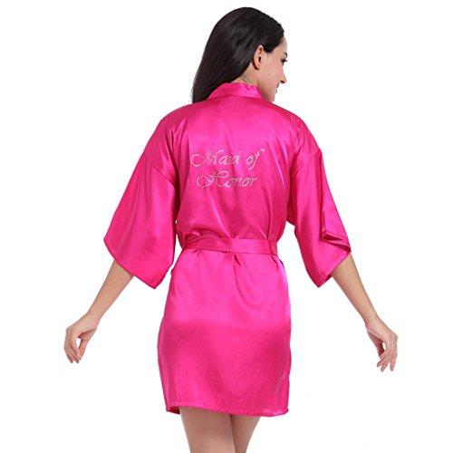 Pigiami Notte e e Vestaglie BOYANN da d'onore Kimono Damigella Camicie Rosa Cristallo SwqCp4YB