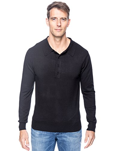 Tocco Reale Men's Classic Knit Long Sleeve Polo Sweater - Black - XL by Noble Mount