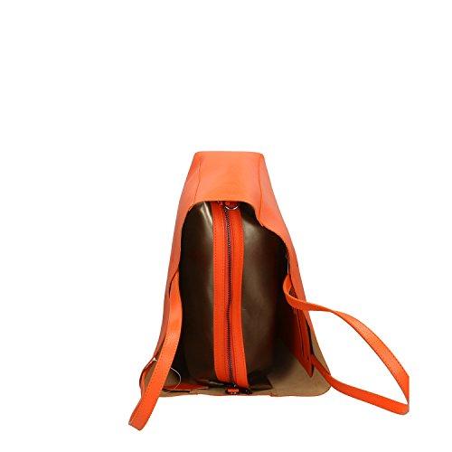Vera in Handbag in Borsa Mano italy Made Cm Chicca Pelle Arancio a 38x30x12 Borse wYxq5Afz