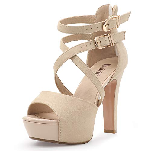 - IDIFU Women's IN5 Charcy Crisscross Strappy Platform High Chunky Heels Peep Toe Pump Party Heeled Sandals (8 M US, Nude Suede)