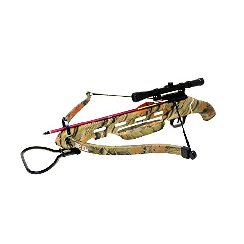 150 Lb Crossbow Arrows (150lbs Short Stock Pistol Style Crossbow with 4x20 Scope + 8 x Arrows and Rope Cocking Device (Autumn Camo))