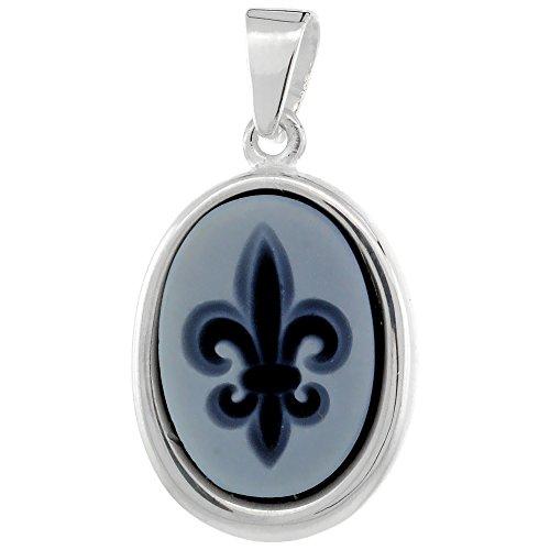 De Lis Fleur Cameo (Sterling Silver Natural Blue Agate Cameo Fleur de Lis Pendant 14x10mm)