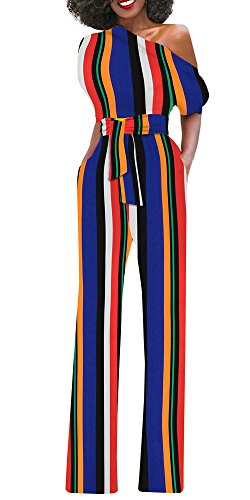 Womens One Shoulder Stripe Wide Leg Jumpsuits High Waist Party Cocktail Long Rompers Outfits Different Outfits