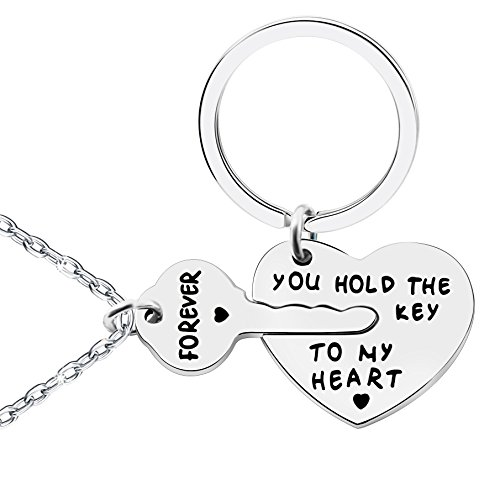 lauhonmin 2pcs Couple Key Chain & Necklace Love