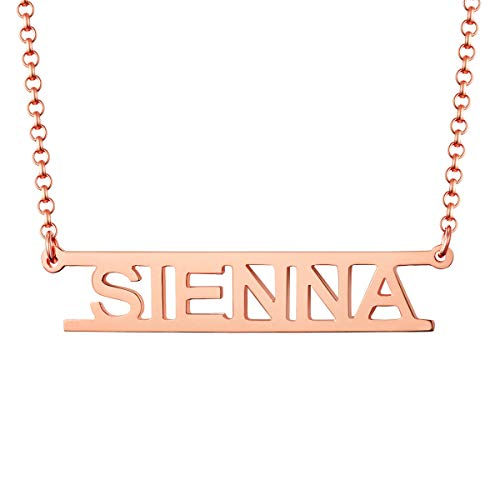 - MissNity Customized Name Necklace Personalized Sterling Silver Rose Gold Plated Cut Out Design Custom Your Name Pendant Wedding Gift for Women (Rose Gold)