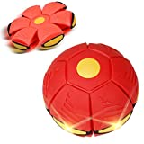 Outdoor Toy,Balakie UFO Deformation Ball Soccer 3 LED Lights Magic Flying Football Flat Throw Ball Toy Game Xmas Gift (Red)