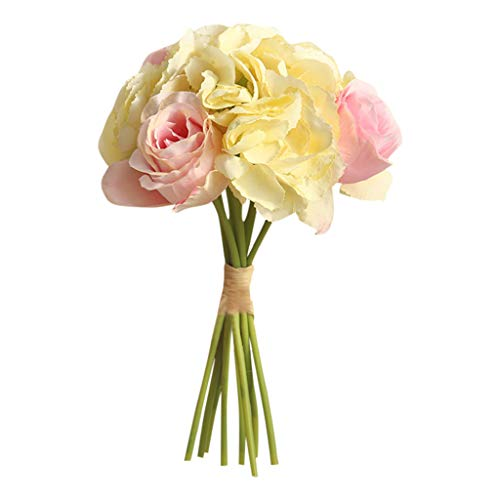 Mikilon Artificial Flowers Silk Flowers Artificial Rose Bouquet for Home Bridal Wedding Party Festival Bar Decor (Yellow and Pink)