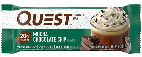Quest Nutrition Mocha Chocolate Chip Protein Bar, High Protein, Low Carb, Gluten Free, Soy Free, Keto Friendly, 12 Count (Chocolate Custom Wrapped)