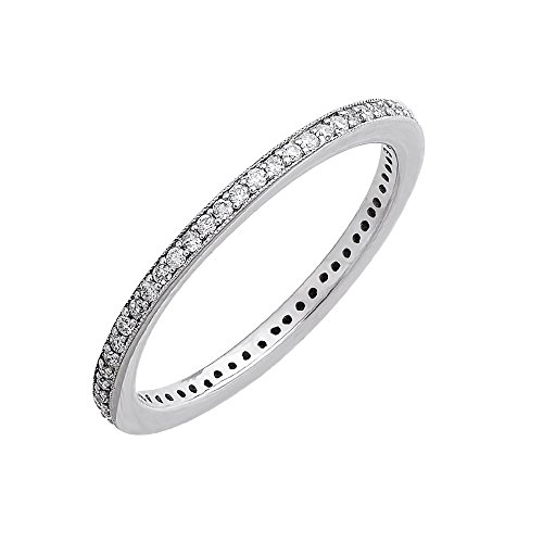 10k White Gold Diamond Pave Set Eternity Band Ring (0.24 Carat)