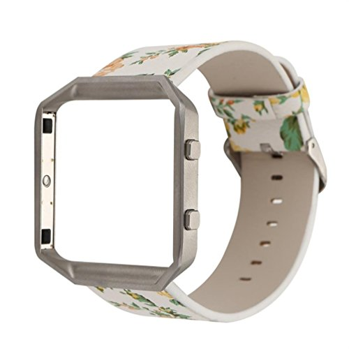 Band For Fitbit Blaze, LUNIWEI Floral Leather Strap Replacement WatchBand & Frame Holder Shell For Fitbit Blaze (Deluxe Synthetic Leather)
