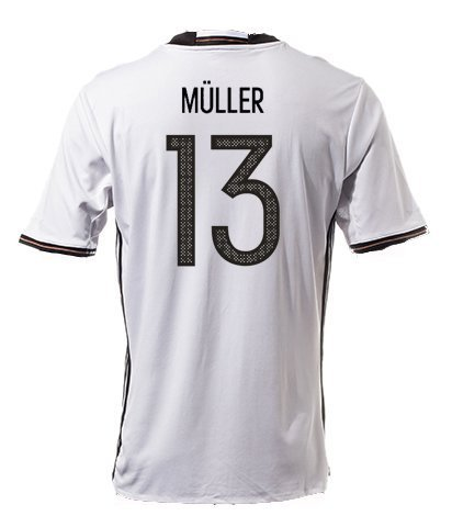 #13 Thomas Müller Germany National Soccer Team Euro 2016 Cup Jersey (White, Large)