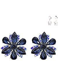 Vintage Retro Style Flower Cluster Wedding Bridal Prom Blue Sapphire Rhinestone Clip-On Earrings