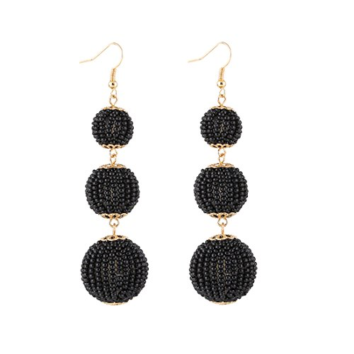 d Ball Dangle Earrings Thread Dangle Earrings Soriee Drop Earrings (bead ball black) (Black Bead Drop Earrings)