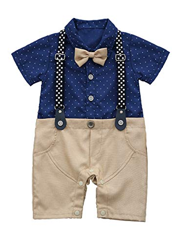HeMa Island HMD Baby Boy Gentleman White Shirt Bowtie Tuxedo Onesie Jumpsuit Overall Romper(0-18M) ... (90(9-12 Month), Light Blue)