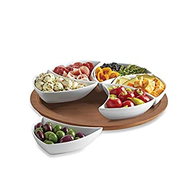 B. Smith Lazy Susan Swirl Server, 6 Pieces Division Tray, Perfect for Salad, Chips