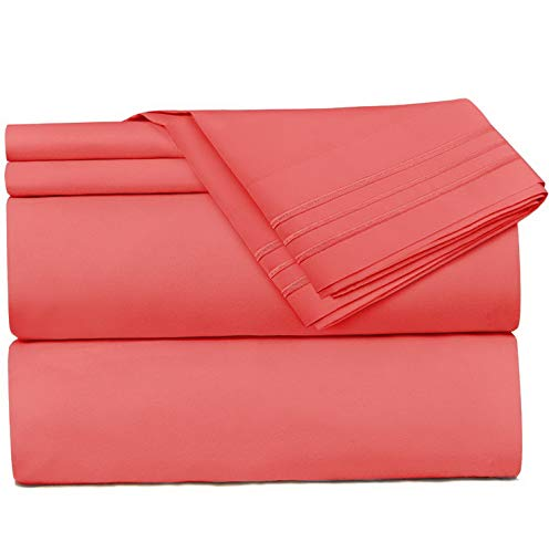 Mikash 4 Piece Sheet Set - 1800 Deep Pocket Bed Sheet Set - Hotel Luxury Double Brushed Microfiber Sheets - Deep Pocket Fitted Sheet, Flat Sheet, RV/Short Queen - Coral Pink | Model SHTST - 198
