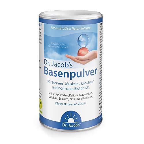 Dr. Jacob's Basenpulver auf Citratbasis I mit über 30 Gesundheitswirkungen I besonders viel Kalium wie in Gemüse und Obst, Calcium Magnesium Zink Vitamin D, auch für Diäten und Basenfasten I 300 g Dos