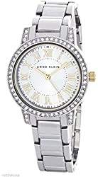 Anne Klein Women's Silver Tone Crystal Bezel Quartz Watch AK/1701SVTT
