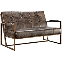 Modern Brown Faux Croco Leather Upholstered Settee with Back and Antique Bronze Metal Frame - Includes Modhaus Living Pen