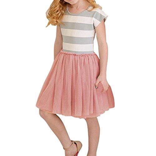 Baby Girls Dress Cute Striped Princess Dresses Kids Toddler T-Shirt Tutu Dress (5T(5-6Years), White+Red)