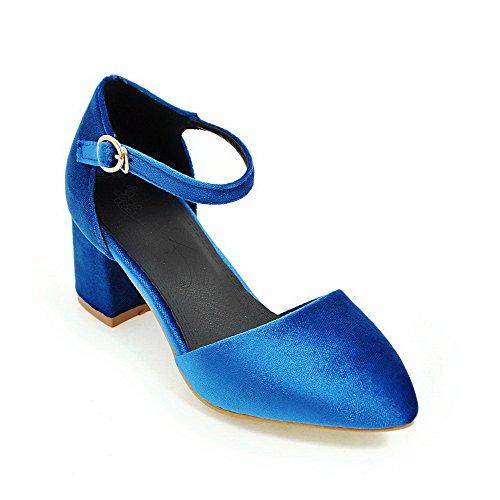 Bleu Fermeture Couleur Talon D'orteil Femme à Boucle GMBLA012436 Sandales Correct Unie AgooLar qPfASwpf