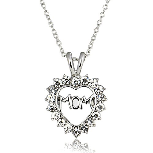 (Gifts for Mom Mother Necklace Pendant Sterling Silver for Women Love Heart Mom Birthday Christmas Thanksgiving Day Gifts)