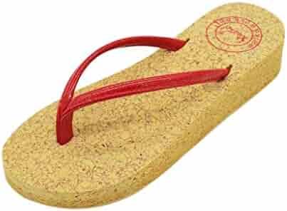 7fd44010347c Women Slides Flat Sandal Thong Cork Sandal Shoe Flip Flops Simple Clip Toe  Ladies Wedges Beach