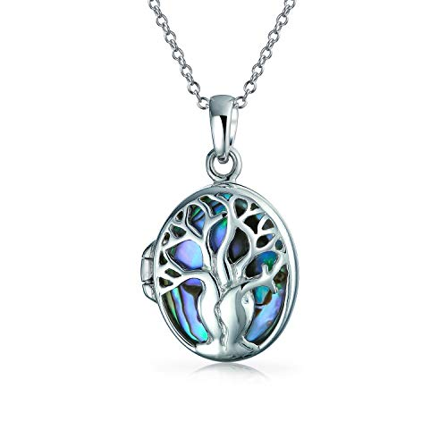 (Family Tree Of Life Celtic Locket Pendant Rainbow Abalone Shell Oval Wishing Tree Necklace For Women 925 Sterling Silver)