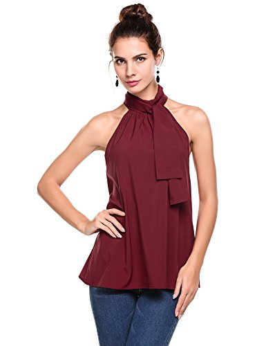 ThinIce Women Summer Sleeveless Office Blouse Halter Tie Back A Line Tank Shirt, Wine Red, Large Plus