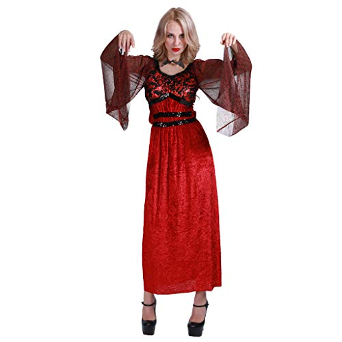 EraSpooky Women's Vampiress Costume Halloween Gothic Vampire Countess Dress with Bat Necklace